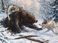 Медведь кажется нескладным и неповоротливым из-за длинной густой...