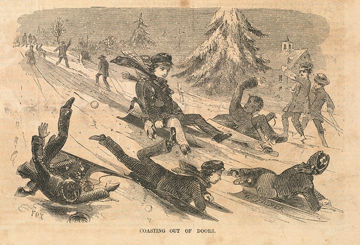 Уинслоу Хомер. Coasting out of doors. 1857