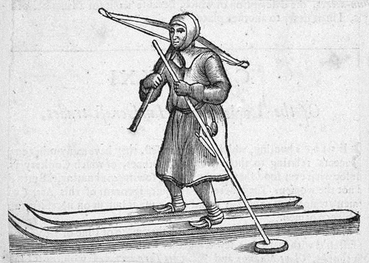 Гравюра по дереву с саамским лыжником. Ок. 1650