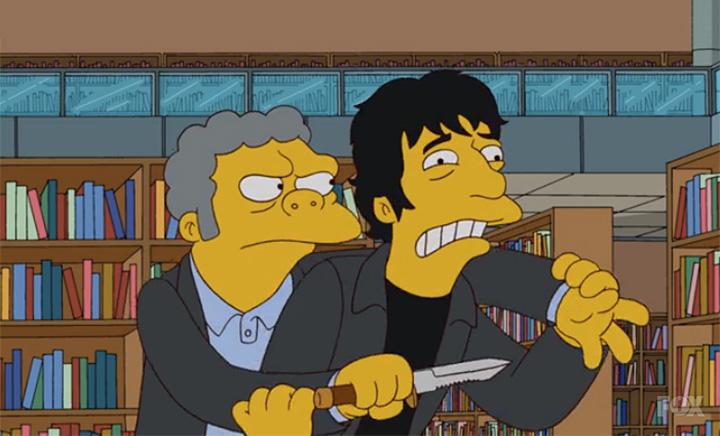 Гейман вполне закономерно появился в роли себя в «Симпсонах» — что с писателями бывает нечасто