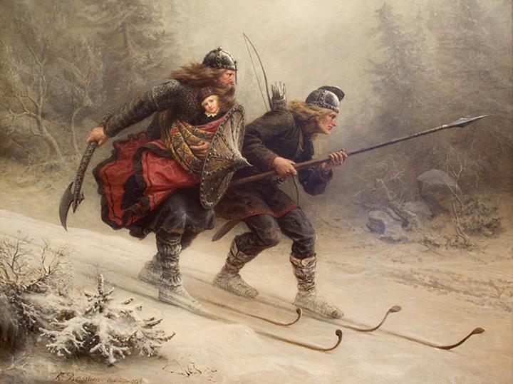 Кнуд Бергслин. Лыжники биркебейнеры. 1869