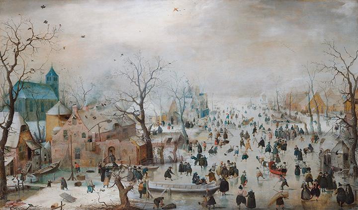 Хендрик Аверкамп. Зимний пейзаж с конькобежцами. 1608