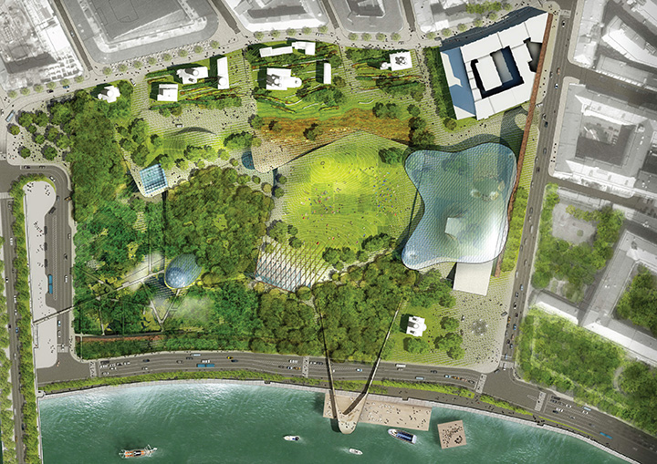 Парк будет интегрирован с прилегающими улицами и пешеходными зонами