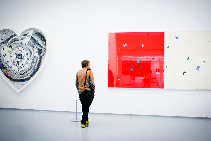 Экспозиция с выставки работ из  коллекции Дэмиена Херста «Свобода не гениальность»