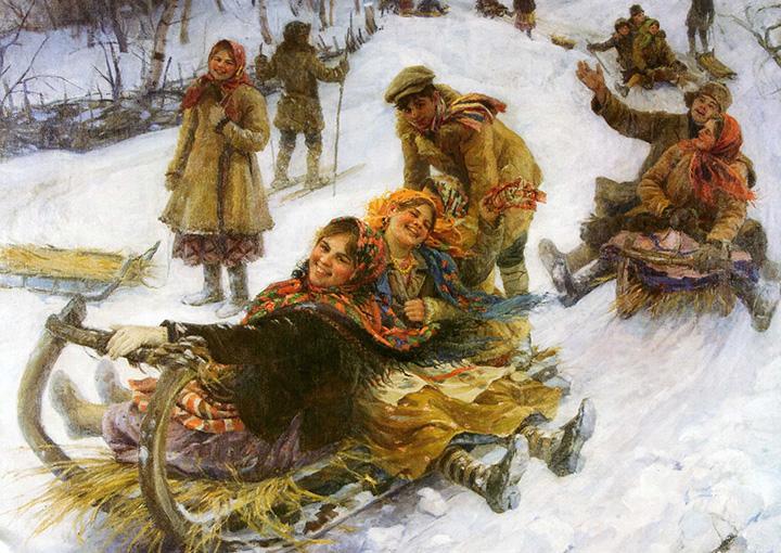 Федот Сычков. Катание на Масленицу. 1914