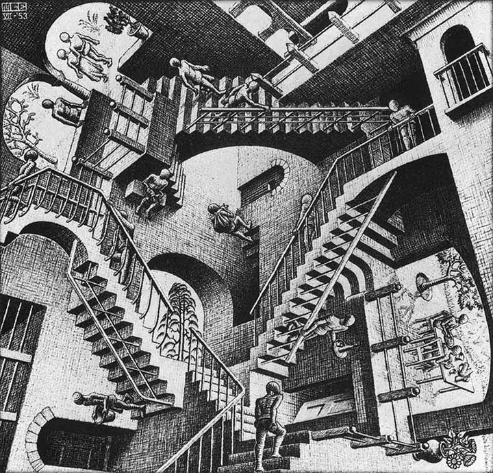 М.К.Эшер. «Относительность», 1953