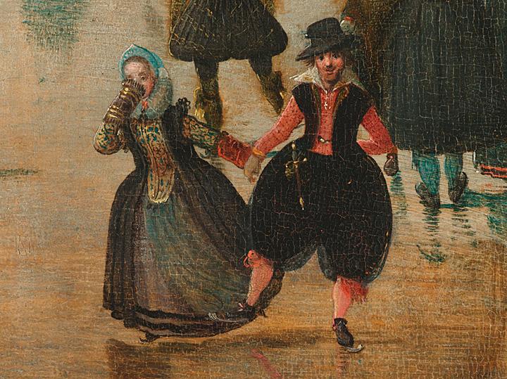 Хендрик Аверкамп. Зимний пейзаж с конькобежцами (фрагмент). 1608