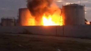 Нароссийской нефтебазе вспыхнул пожар