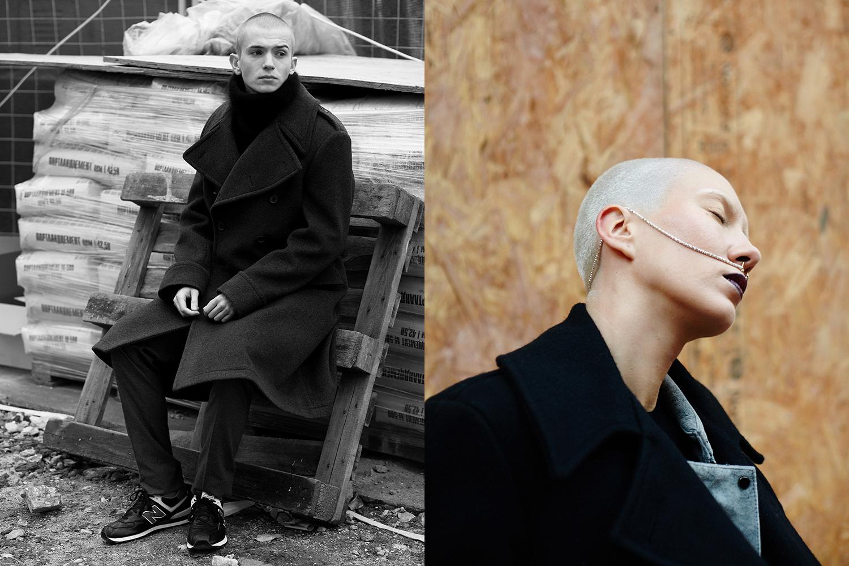 Слева — пальто Сrombie, 45650 р., свитер H&M, 3999 р., брюки Topman, 2990 р., кроссовки New Balance, 4620 р., справа — бушлат Fidelity, 12690 р., куртка H&M, 5999 р.