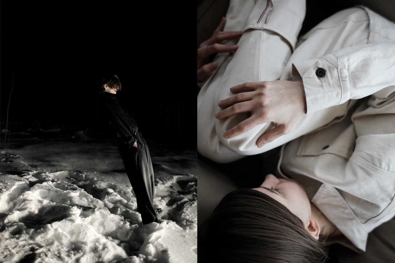 Слева: комбинезон Yohji Yamamoto, 61450 р. Справа: куртка Tellason, 6893 р., джинсы Tellason, 5843 р.