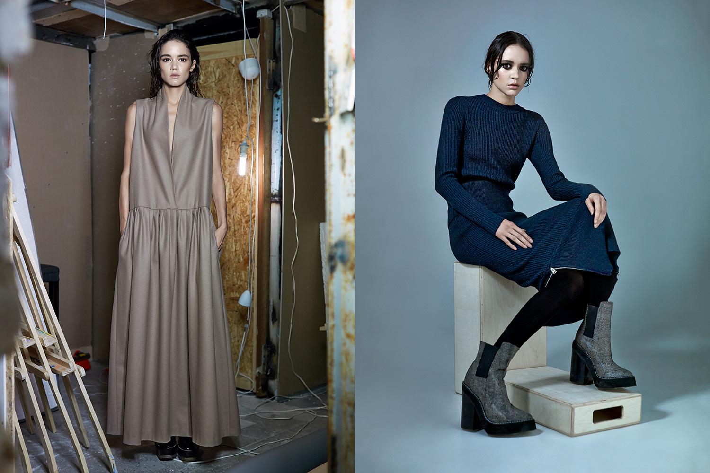 Слева: платье Silentwood, 16000 р., лоферы Dries Van Noten, 32800 р.; справа: свитер Acne, 12350 р., юбка Acne, 14800 р., ботинки Jeffrey Campbell, 11200 р.