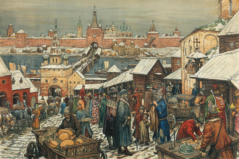 Апполинарий Васнецов. Торг в древнем Новгороде, 1912