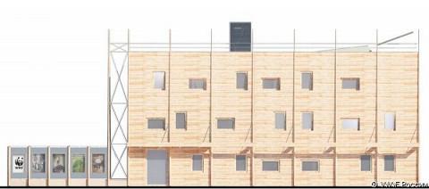 Фасад здания будет отделан натуральной древесиной