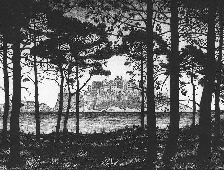 М.К.Эшер. «Пинета Кальви», Корсика, 1933