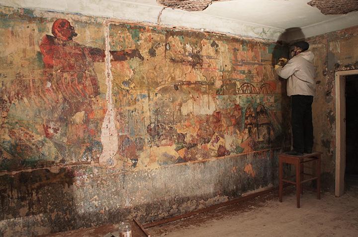 Текущее состояние росписи в Доме Стройбюро в Королеве