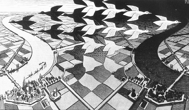 М.К.Эшер. «День и ночь», 1938
