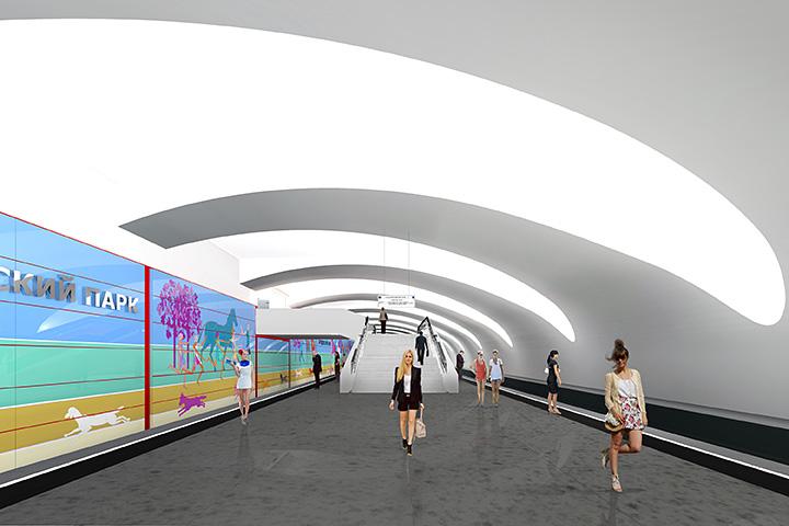 Одна из главных особенностей новой станции — так называемый односторонне ориентированный свод и пол, переходящий в стену