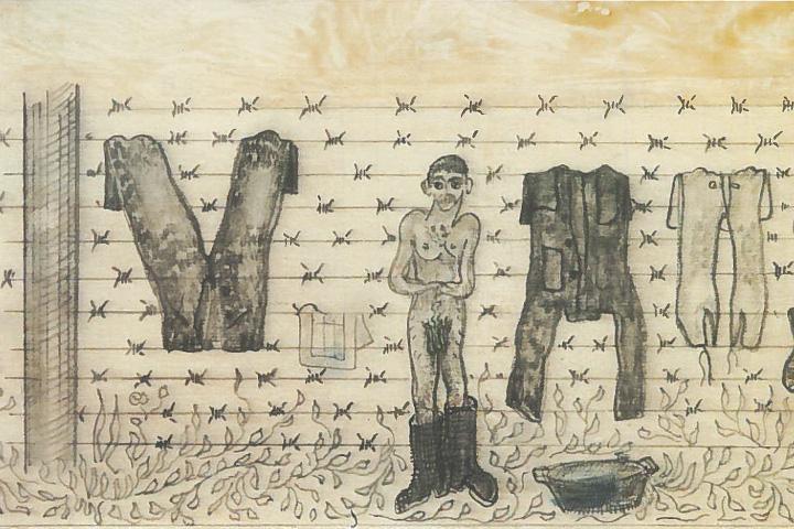 «Банный день в тюрьме». Карандаш, шариковая ручка. Один из многочисленных лагерных рисунков Параджанова.