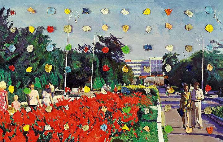 Работа №6 из серии «Праздники» — типичная для Кабакова рефлексия на тему советского идеологического искусства: картины, некогда якобы написанные вымышленным художником-соцреалистом и со временем потускневшие, дополнительно оживлены шариками из фольги; таким образом, происходит двойное отчуждение