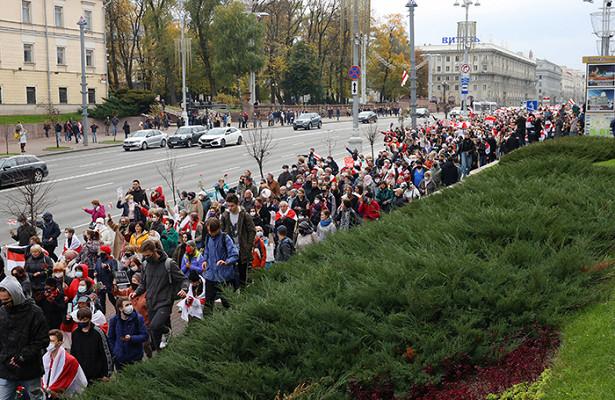 Очередной день протестов вБелоруссии завершился задержаниями